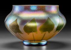 Art Glass:Tiffany , Large Tiffany Studios Gold Favrile Glass Foliate Vase. Circa 1909.Engraved L. C. Tiffany - Favrile. 9351 D. Ht. 8-1/2 x...