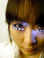false eyelashes lit with LEDs.  A little bit crazy!!!