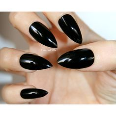 Black glossy stiletto press on nails! ($7.80) ❤ liked on Polyvore featuring beauty products, nail care, nail treatments, nails, makeup, beauty e nail polish