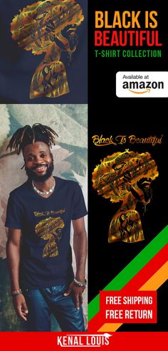 The Black Is Beautiful t-shirt artwork was created by visual artist Kenal Louis. The artwork is part of an ongoing Afrocentric art series. Inspired by black culture and Afrocentric themes. T-shirts NOW AVAILABLE on Amazon in 5 colors. Great creative and unique gift ideas. All original artwork by visual artist Kenal Louis. #africanamericanart #blacktshirts #blackisbeautiful #myblackisbeautiful #blackartwork #afrocentric #afroart Afrocentric Clothing, Black Artwork, Afro Art, Art Series, African American Art, Black Artists, My Black Is Beautiful, Black Models, Black Girl Magic