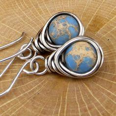 Ocean Jasper Earrings Wire Wrapped Earrings Eco Friendly Jewelry Gifts for Her by adorned7 on Etsy