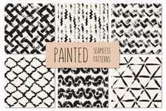 Painted Seamless Patterns Set 2 by Curly_Pat on Creative Market