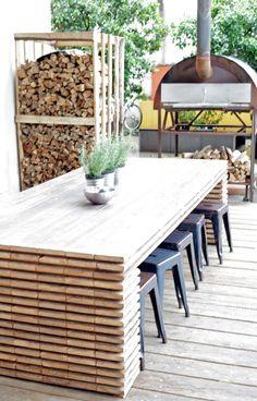 Salon de jardin aluminium gris et composite bois 1 table for Table exterieur restaurant