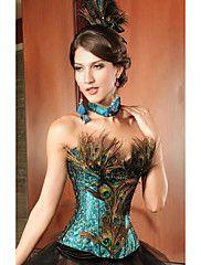 affascinante pizzo e senza spalline acrilico pavone corsetto (un set) biancheria…