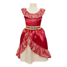 The Disney Junior Elena of Avalor Adventure Dress - Child Size 4-6 X Features:<br><ul><li>The bold, compassionate, funny and clever Crown Princess of Avalor.</li><br><li>She is the protector of Avalor and is not afraid of danger!</li><br><li>Dress up like the Crown Princess with this Elena of Avalor Adventure Dress and go on your own royal adventure!</li><br><li>Recommended for Ages 3 And up</li>...