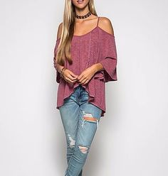 Fashion outfit ideas for Valentine's Day.  This Sheila top is oh so cute and romantic!  Gorgeous half sleeve cold shoulder spaghetti strap with tulip front and pom pom hem line.