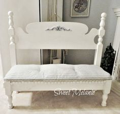 ~Sweet Melanie~ Make a bench from an unused twin bed.
