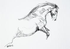 Equine nude 33 - Horse Black Ink Original Drawing. $34.00, via Etsy. par Bénédicte Gelé