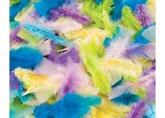 Assorted pastel turkey feathers, a must for Easter collage work, making chickens, or decorating baskets and Easter hats. Children could make fun chick puppets out of paper bags, using the feathers as embellishments for wings or quiffs on the chicken. The colours of the pastel turkey feathers are fabulous. There is yellow, purple, blue and green. All can be used to bring a beautiful element to the children's craft. The pastel turkey feathers are also great as a fun tactile, sensory activity.