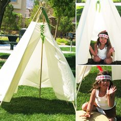 Peter Pan Party Tee Pee for the Indian Camp. Wonder if I can make it with a painter& drop cloth Fairy Birthday Party, Pirate Birthday, Pirate Party, Birthday Party Themes, Girl Birthday, Tiger Lily Costume, Peter Pan Party, Peter Pan And Tinkerbell, Tinkerbell Party