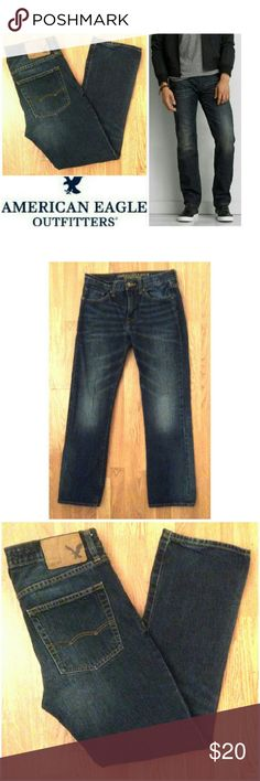 """Original Straight American Eagle Outfitters jeans These classic American Eagle Outfitters jeans are perfect for any occasion! Medium dark denim 100% cotton denim wash. Original Straight fit. Traditional 5 pocket style, leather logo tag on back. Size 28, 30"""" inseam. Dress up or down with button downs and boots, sneakers and tees...possibilities are endless! In EXCELLENT condition, NO DAMAGES. Grab yours for less and look great in your American Eagle Outfitters jeans. American Eagle Outfitters…"""
