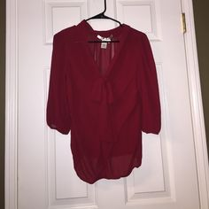 Max studio top blouse red size XS Excellent condition. Great for work or going out. Material is sheer. Max Studio Tops Blouses