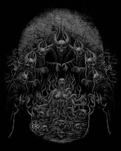 Death metal artwork by blackdotx Baphomet, Apocalypse Art, Dark Portrait, Satanic Art, Sketch Tattoo Design, Skull Logo, Occult Art, Power Metal, Futuristic Art