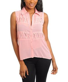Take a look at this Blush Sheer Lace-Back Button-Up - Women by Ami Sanzuri on #zulily today!