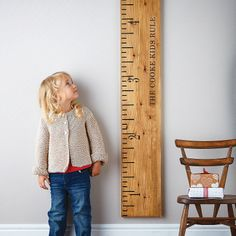'kids rule' mid oak wooden ruler height chart by lovestruck interiors. Perhaps my dad can make something like this.
