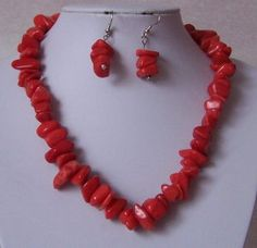 Coral Red Turquoise Semiprecious Semi Precious Western Necklace Set