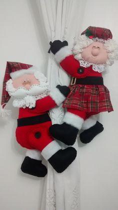 Papai e mamãe Noel de cortinas | Atelie Cheiro de Pano | Elo7