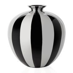 Raya Vase in Black & White from Z Gallerie | Large rounded vase handcrafted of sustainable lightweight bamboo and finished with a glossy lacquer of broad Black and White stripes.
