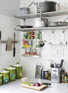 metal shelves with subway tile - eclectic - kitchen - Home Kitchens, Kitchen Remodel, Metal Shelves, Kitchen Tiles, Ikea Shelves, Tiny Kitchen, Big Kitchen, Diy Kitchen, Eclectic Kitchen