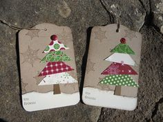 handmade Christmas tags ... rustic look ...  trees made up of  triangles cut from patterned paper ...