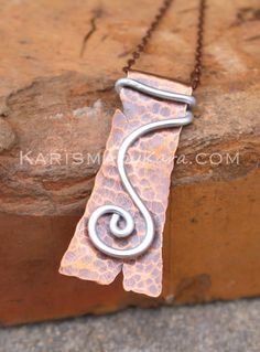 Copper.+Silver.+Hand+Cut.+Spiral.+Pendant.+by+Karismabykarajewelry,+$39.00
