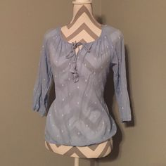 Blue and white peasant blouse Light Blue with White Design Peasant Top. Size X-Small J. Crew Tops