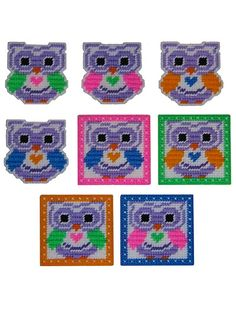 Plastic Canvas - Coaster Patterns - Animal Patterns - Neon Bright Owl Coasters & Magnets