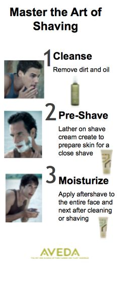 In three steps, get a clean and comfortable shave. Step 1: Before shaving, remove dirt and oil with Botanical Kinetics™ Purifying Gel Cleanser to help prevent clogged pores, which can lead to blemishes. Step 2: Lather on Aveda Men Pure-Formance™ Shave Cream to prepare skin for a close, comfortable shave. Step 3: Apply Aveda Men Pure-Formance™ Dual Action Aftershave to the entire face and neck after cleaning or shaving, to moisturize, soothe and reduce razor burn to in-grown hairs.