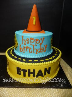 Construction Theme Cake - 2-tier buttercream cake with fondant details - first birthday construction theme.