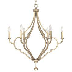 Quinn Brushed Goldtone 6-light Chandelier | Overstock™ Shopping - Great Deals on Capital Lighting Chandeliers & Pendants