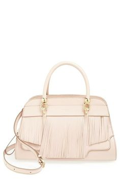 Swoon. Tod's Pink Fringe Leather Satchel.