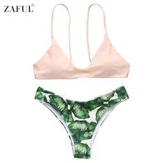 New Sexy Solid Top+Leaf Print Bottom Bikini Set Swimsuit Two Piece Swimwear Bathing Suit Biquinis