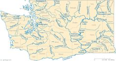 Washington Rivers Map: This map shows the major streams and rivers of Washington and some of the larger lakes. Washington is in the Pacific ...