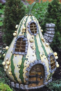 gnome or fairy  windows   ... Fairy/Faerie/H obbit/Gnome Garden Fiddlehead Striped Fairy Gourd House