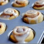 8 Minute Mini Cinnamon Rolls  I made these this morning and they were a wonderful. I made a batch of cinnamon and a batch of carmel. The carmel I melted 2 tablespoon butter, 1 tablespoon dark karo, 2 tablespoon brown sugar. Microwaved 30 seconds and brushed on top of the rolls then baked them. These will become a staple in my kitchen!!