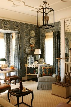 Raphaello damask drapery and wallcovering by Cowtan & Tout, blue and white porcelain, gorgeous lantern - Cathy Kincaid Interiors