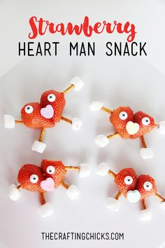 Strawberry Heart Man Snack on www.thecraftingchicks.com - a fun snack for a class valentine party!