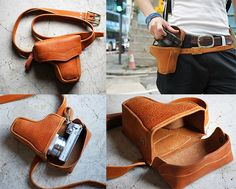 Leather gun holster-style camera case