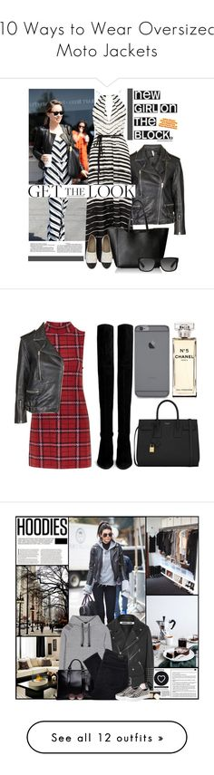 """10 Ways to Wear Oversized Moto Jackets"" by polyvore-editorial ❤ liked on Polyvore featuring waystowear, oversizedmotojacket, FUZ, Topshop, Furla, Ray-Ban, Chanel, women's clothing, women and female"