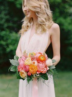 Neutral Bridesmaid Dress with a Summer Citrus Bouquet