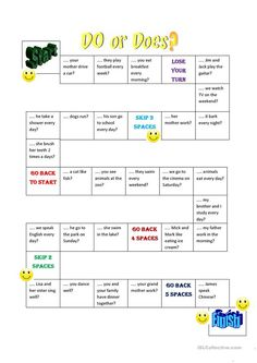 Do Does question board game - English ESL Worksheets for distance learning and physical classrooms Grammar Games, Vocabulary Games, Grammar Worksheets, Printable Worksheets, Kids English, English Lessons, Learn English, English Games For Kids, Education English