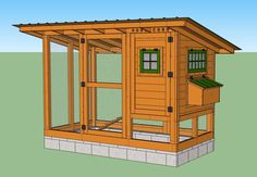 """The """"Wichita Cabin Coop"""" -- a practical, secure, simple, easy-to-use chicken coop for a small backyard flock. Walk In Chicken Coop, Chicken Shed, Chicken Coup, Chicken Garden, Chicken Coop Plans, Chicken Runs, Chicken Houses, Keeping Chickens, Raising Chickens"""