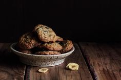"""Chocolate Banana Chip Cookies (recipe) - """"These Chocolate Banana Chip Cookies allow both flavors to shine in this chewy cookie. Banana chips are processed into fine pieces before mixing into the cookies, giving them a pronounced banana flavor without the softness or cake-like texture that comes from using fresh fruit."""""""