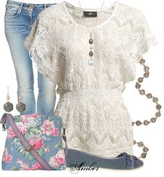 Soft worn denims and lace, with a pretty floral bag