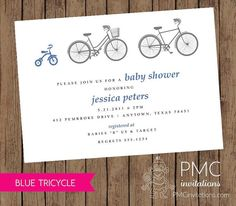 Bicycle Tricycle Boy Baby Shower Birth Announcement Invitation Blue - 1.00 each with envelope