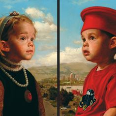 Jeff Hein's Portfolio - Painting- portrait commission, such a cute reference to Piero della Francesca's double portraits of  Duke and Duchess of Urbino