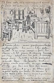 """125 years ago today, van Gogh wrote to Paul Gauguin and shared a sketch of his recent painting, """"The Bedroom."""" As van Gogh explained, a bout of eyestrain had forced him to stay indoors and paint an. Paul Gauguin, Vincent Van Gogh, Theo Van Gogh, Desenhos Van Gogh, Van Gogh Arte, Van Gogh Drawings, Letter Photography, Life Photography, Portrait Photography"""