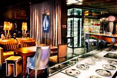An image from the hotel restaurant, The Bazzaar where you could enjoy food AND shop.  My favorite area, of course, was the display of Fornasetti plates. #SLS Hotel