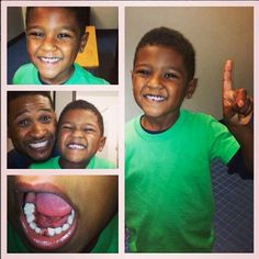 Usher son losses first tooth!