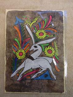 Vintage Otomi Folk Art Amate Bark Paper Painting San Pabilito Puebla Mexico 1a